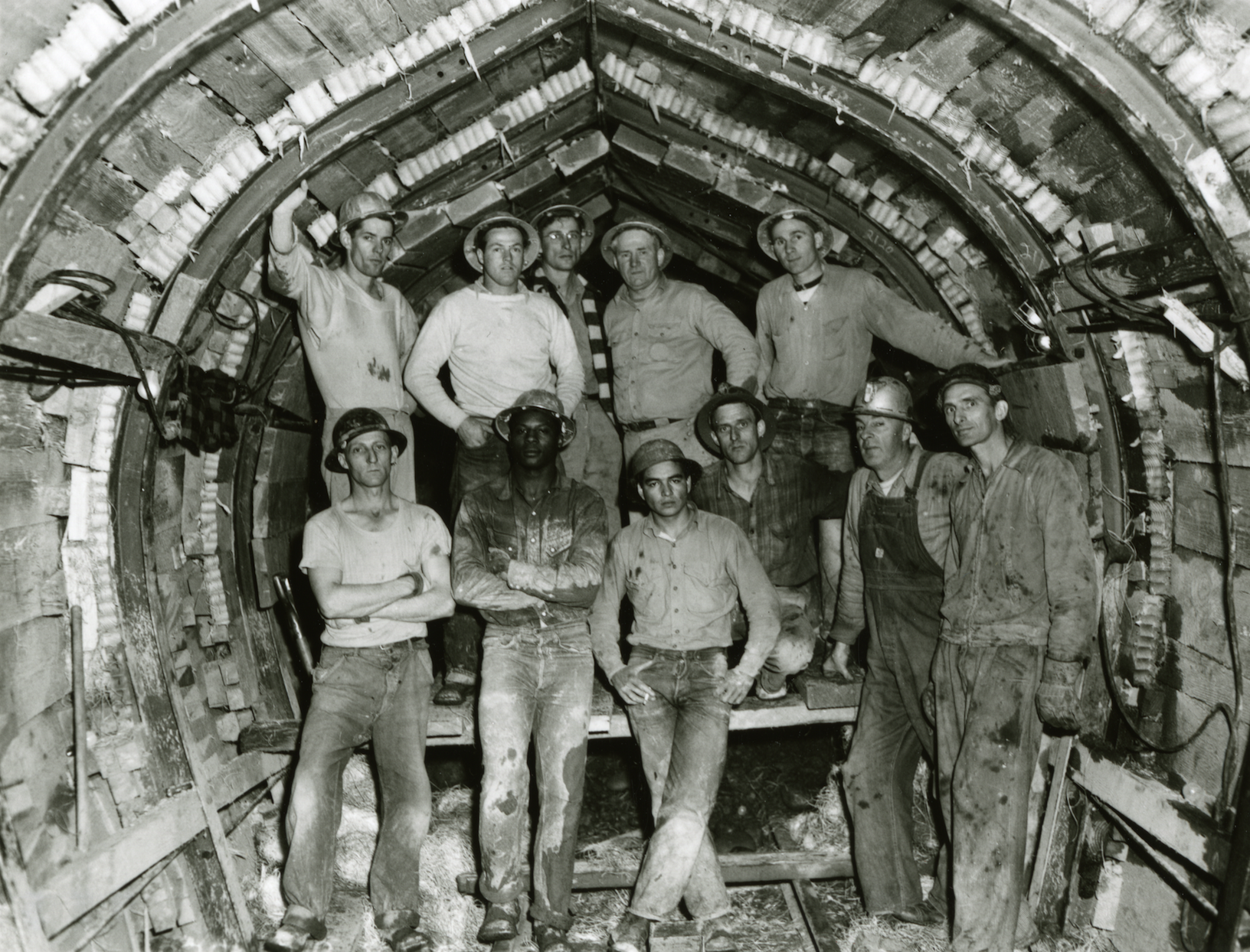 Unidentified workers excavating a section of Portland's sewer tunnels, ca. 1950. City of Portland Archives, A2005-005.59.122.